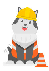 Dog in a construction suit